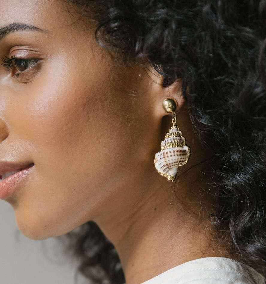 Sea Wind Galvanated Shell Conch Ohrringe Einfache Mode für Frauen