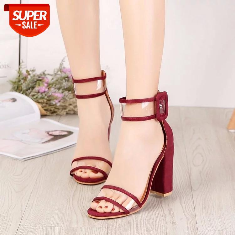New Sandalias Mujer 2020 Women Heeled Sandals Buckle Strap Heel Square High Heels Pumps Dress Office #dR3k