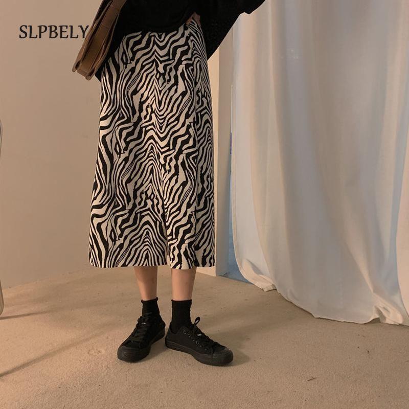 Frauen Zebra Print Gestrickter Rock Hohe Taille Split Casual Röcke Für Femmal Midi Lange Vintage Damen Streetwear 2021