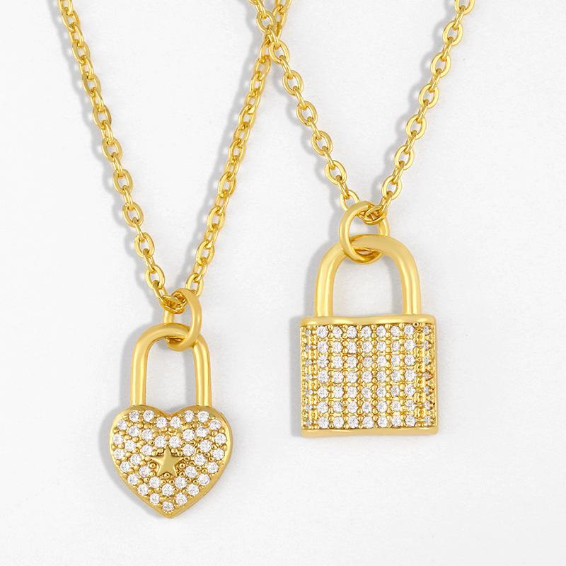 디자이너 한국 간단한 사랑 잠금 목걸이 패션 기질 심장 - 모양의 다이아몬드 펜던트 쇄골 체인 여성 액세서리 NKR35