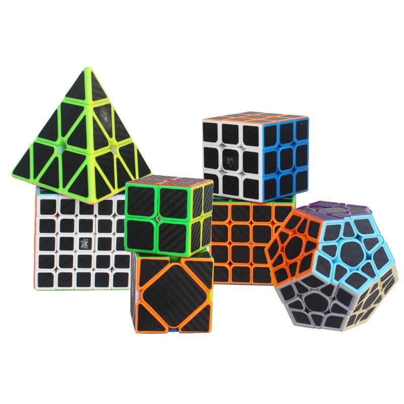 Yuxin ألياف الكربون megaminx skew الهرم ماجيك مكعب 2x2 3x3 4x4 5x5 megaminxeds سرعة لغز مكعب 7 قطع ألعاب تعليمية