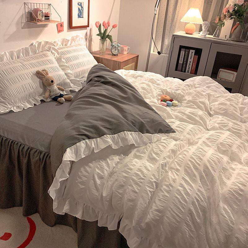 Korean Version Lotus Leaf Edge Seersucker, Puff Lace, 4-piece Princess Bedspread, Seamless Bedding