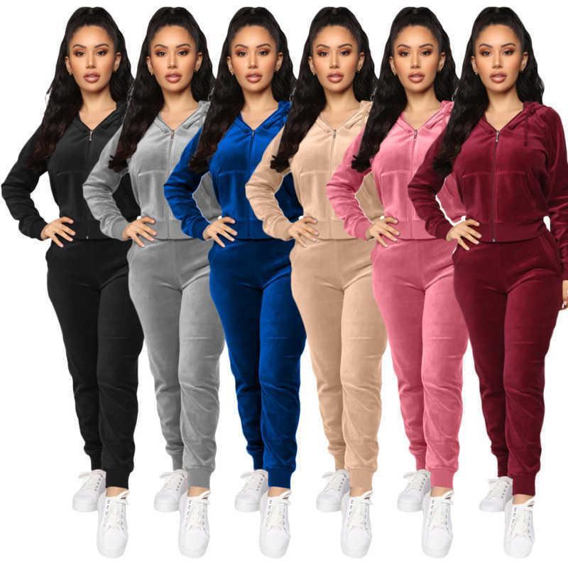 Kadınlar Kadife Eşofman İki Adet Set Tasarımcı Fermuar Elastik Bel Kazak Hoodie Pantolon Bayanlar Moda Sportwear Suits