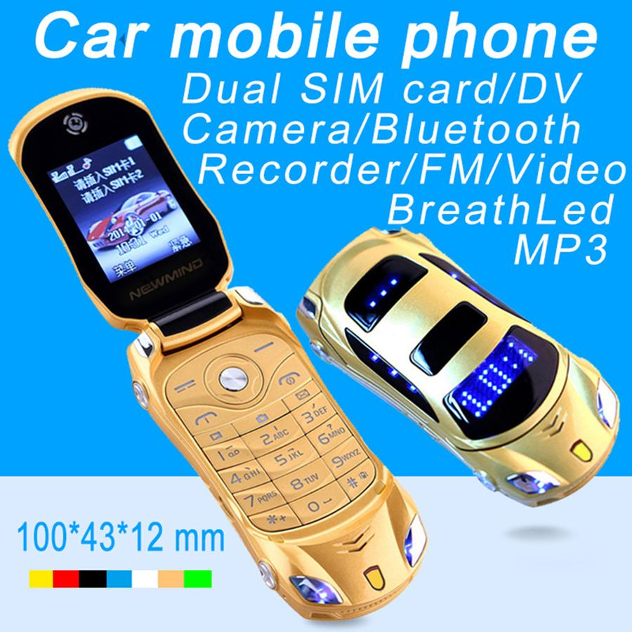 Разблокированные новые прибытия Super Mini Phones Car Key Model Student Flip Роскошный мобильный телефон Toydrend игрушка Двойная SIM-карта Мультфильм Автомобили Форма мобильного телефона
