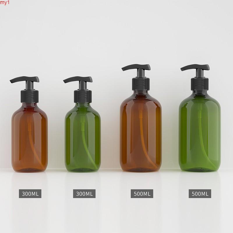 300ml / 500 ml 12 PCS / LOT Vacío Botella de plástico de color verde oscuro / marrón, botella de botella de loción jabón líquido PET BottleToods