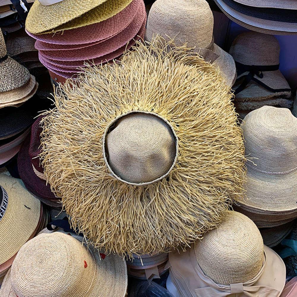 Acessórios Chao Big Beaves, liberar um grande pedaço de borda de barba longa, chapéu de moda personalizada palha, verão vazio top sunshade chapéu