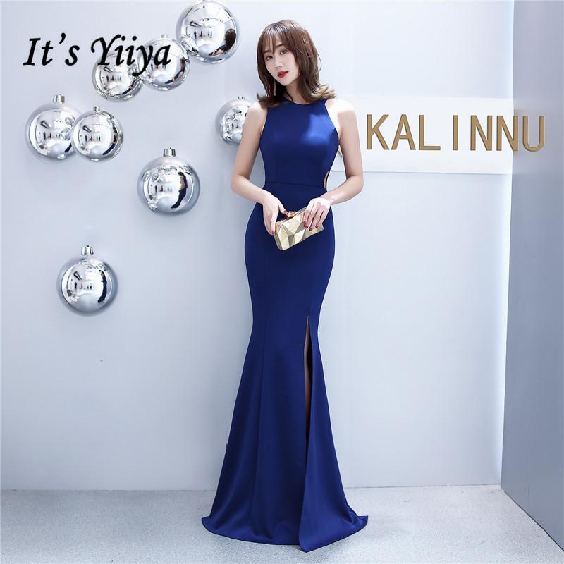 인어 이브닝 드레스는 yiiya dx403 민소매 지퍼 abendkleider 네이비 블루 O 넥 바닥 길이 가운 여성 파티 드레스
