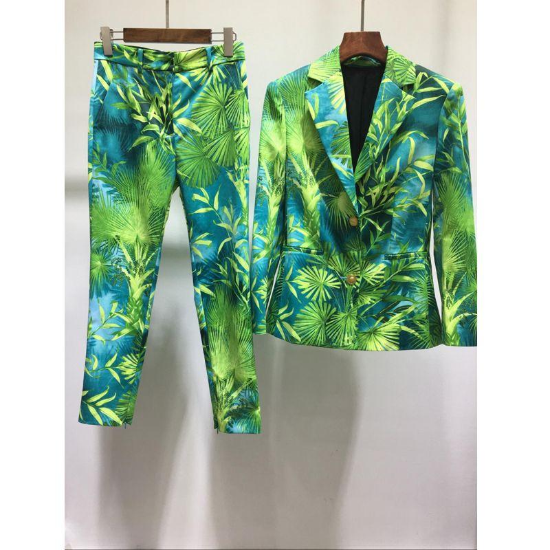 Frauen zwei Stück Hosen Sommer Mode Grüner Dschungel Druck Blazer Mantel + Vintage Print Pant Party Sets Vestidos