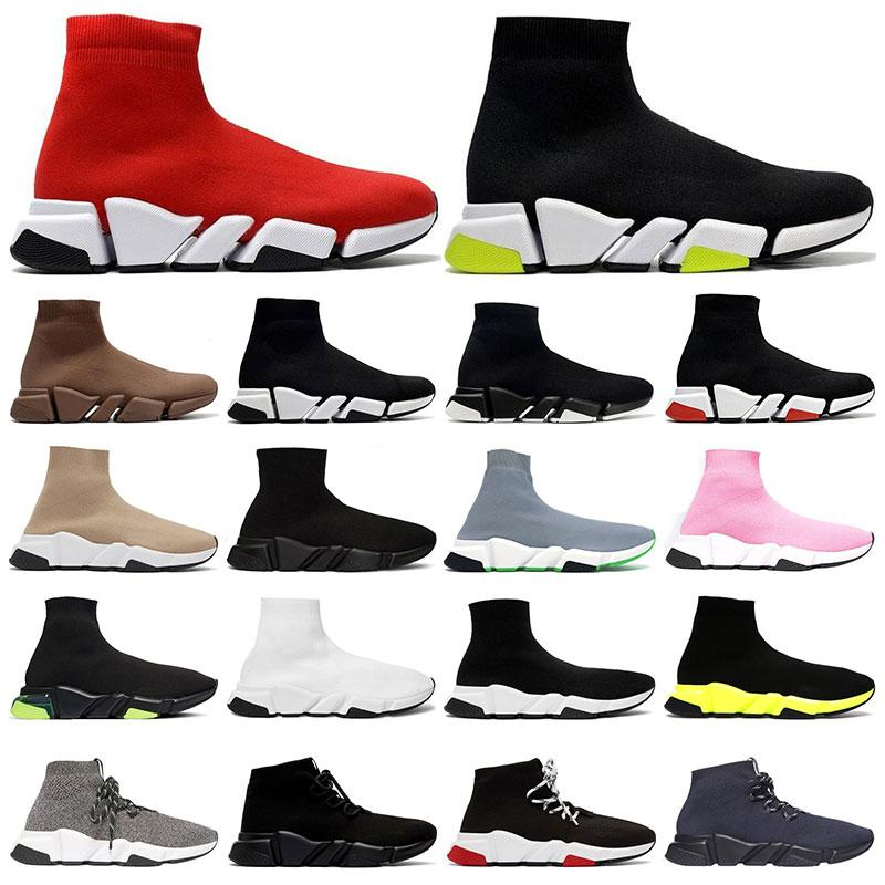 Mens 고전적인 양말 신발 2.0 플랫폼 트리플 블랙 화이트 베이지 붉은 clearsole 옐로우 floo bule 플랫 레이스 위로 여자 패션 야외