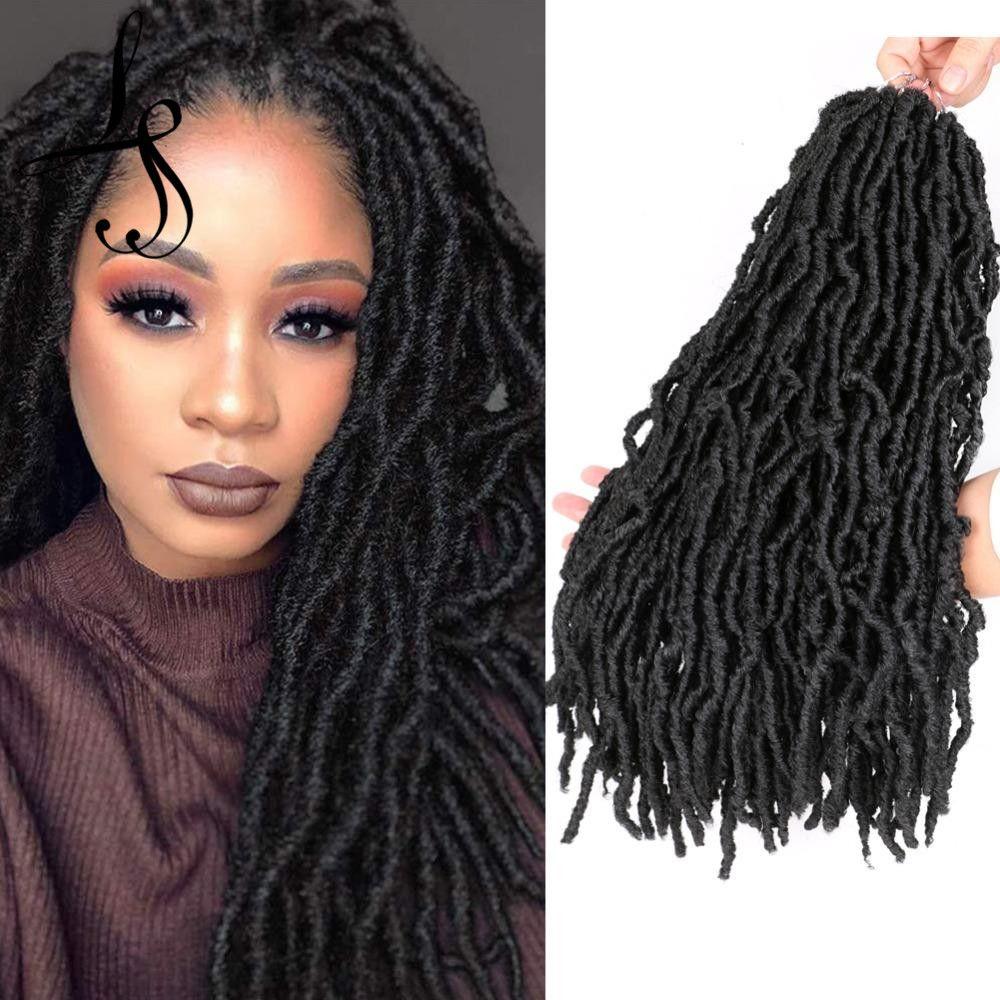 Shanghair 18 pouces Faux Locs Crochet Hair Naturel Curly Dreadlocks Cheveux Black Dark Brown Soft Locs Crochet Braids 21trands / Pack Nu Locs Crochet Cheveux