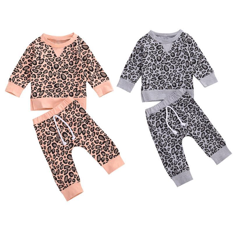 2 قطع أزياء الشتاء الخريف الوليد ملابس الطفل مجموعة ليوبارد طباعة طويلة الأكمام سوياتشيرتس + السراويل طفل الرضع الملابس تتسابق 922 Y2