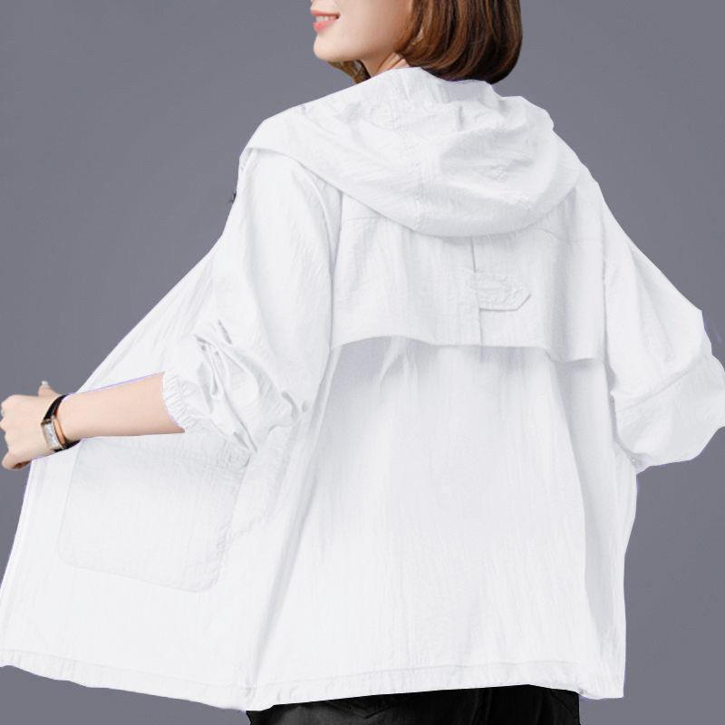 Women's Jackets Summer Thin Sunscreen Coat Long Sleeve Female Windbreaker Overcoat Zipper Pockets Casual Outwear Plus Size 4XL Women Jacket