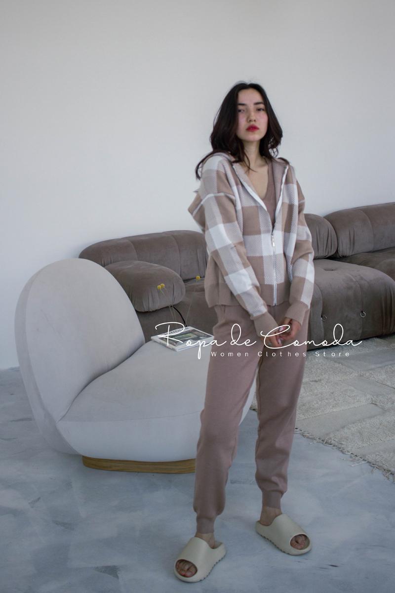 Women's Two Piece Pants Sweater Set Women Tracksuit Plaid Cardigan+ Vest + 3 2021 Fall Winter Plus Size Loose Fit
