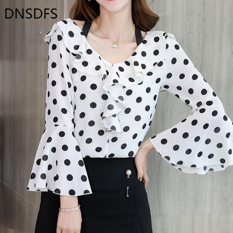 Frühling Herbst Frauen Weißes Hemd Elegante Damen Tops Dot Rüschen Langarm Hemden Koreanische Streetwear Slim Chiffon Bluse Frauen Blusen