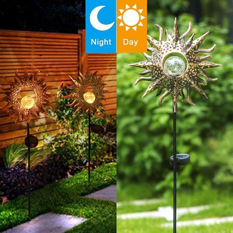 Solarlampen leuchtet wasserdicht im Freien Sonne Flammenlicht Gartenlandschaftsrasenlampe für Patio-Dekoration