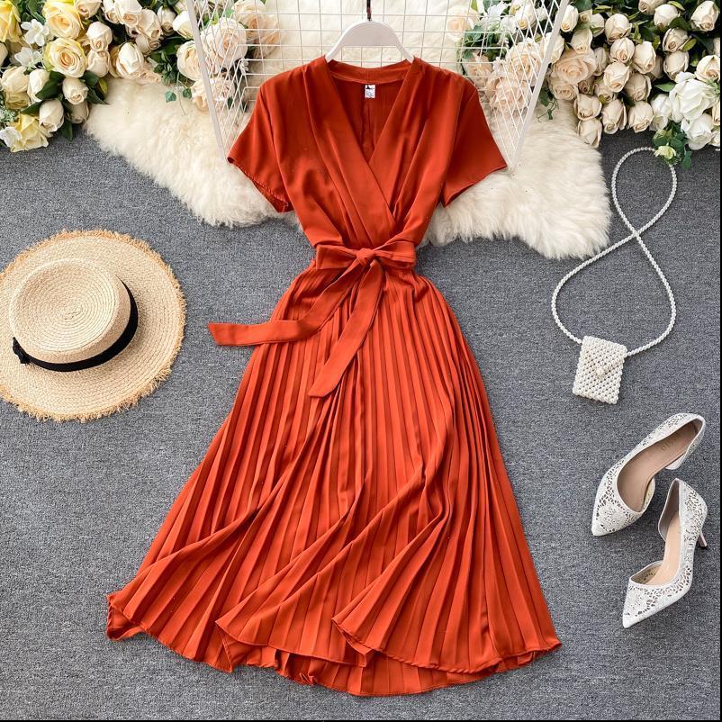 Vintage Slim V-Ausschnitt Bandage Frauen Kleider Plissee Kleid Sommer Party Midi Lange Elegante Vestido de Festa Tunika