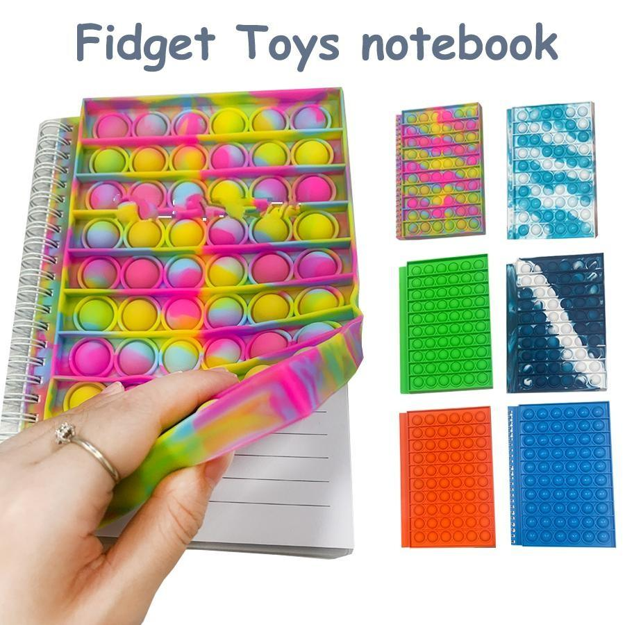Fidget Toys Rainbow Tie Dye notebook Colorful Bag Push Bubble Sensory Squishy Stress Reliever Autism Needs Anti-stress Toy For Children Adult,50 pages