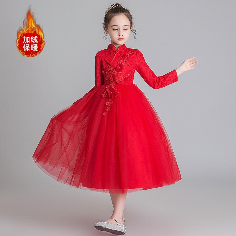 Kinderprinzessin Herbst- und Wintermädchen-Hochzeit pompous 2021 Chinesischer Stil Langarmkleid