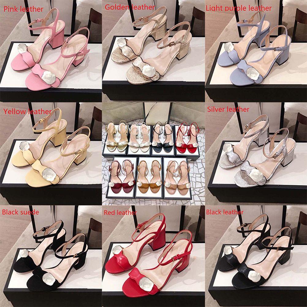 Klasikler Kadınlar Yüksek Topuk Ayakkabı Sandalet Moda Plaj Kalın Alt Terlik Alfabe Lady Sandalet Deri Slaytlar Ayakkabı02 01