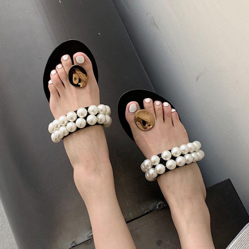 Celebrity Metal Buckle Clip Toe Slippers Women Flip Flops Summer Shoes Woman Sandals String Bead Band Slides Claquette Femme2021