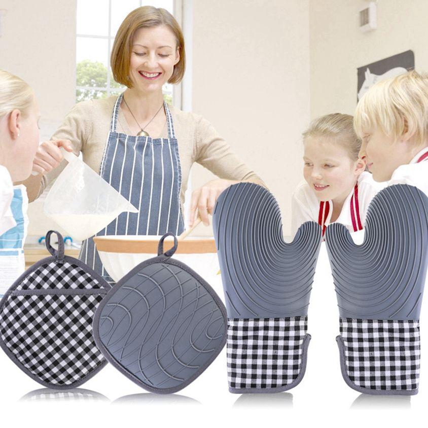 Silikon Fırın Eldiveni ve Pot Tutucular Kapitone Liner Ile Setleri Isıya Dayanıklı Mutfak Mitt Eldiven Pişirme Pişirme Izgara CYZ3101