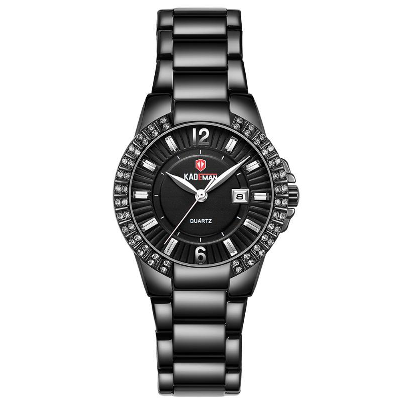 Armbanduhren Kademan Mode Damen Diamant Gold Handgelenk Kristalluhren Damen Wasserdichte Datumuhr Uhr Relogio Masculino Reloj Muje