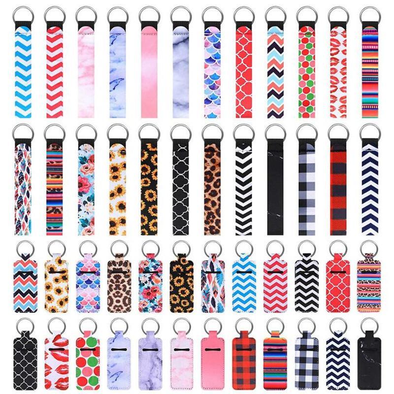 Porte-clés de Chapstick Keychains et lanières Keytlet Porte-clés Party Favoris, Pochette de protection à lèvres en néoprène coloré pour femmes filles