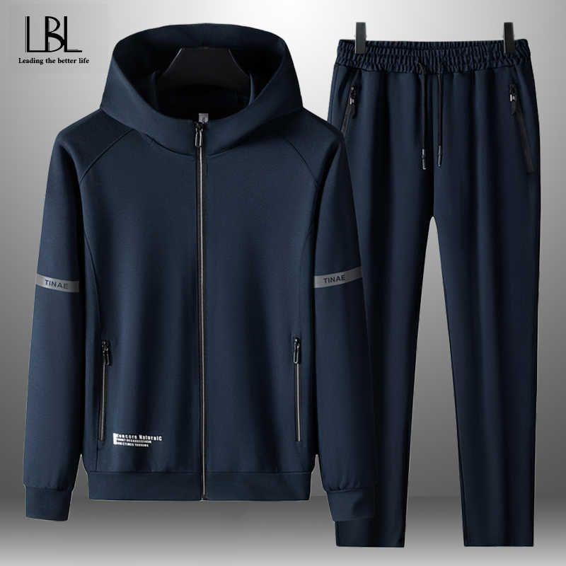 Erkekler Casual Setleri Eşofman Kapşonlu Kazak Kıyafet Spor Erkek Moda Fermuar Suit Iki Parçalı Set Sonbahar Kış Artı Boyutu 8XL X0909