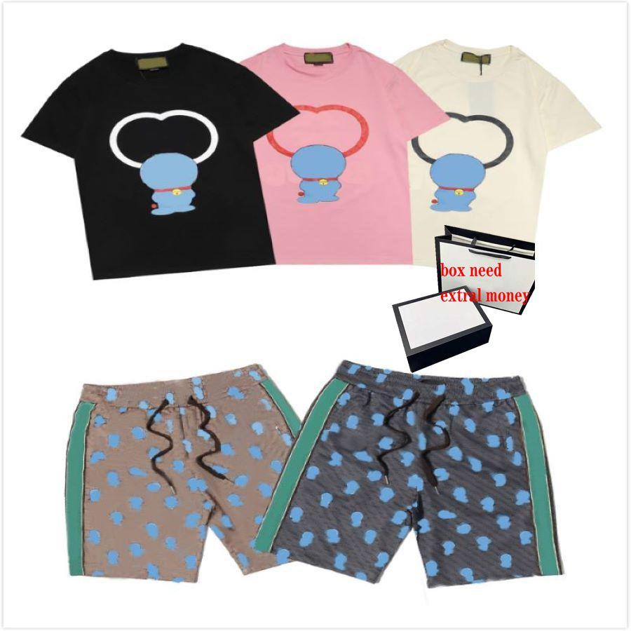 Erkek Karikatür Baskı Yaz Tees + Şort Erkek Rahat Sokak Tişörtleri Erkek Moda Takım Elbise Yüksek Kalite Kısa Pantolon Ekip Boyun Tee