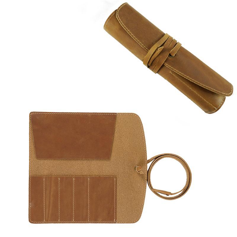 Funda de lápiz de cuero genuino Roll Retro Pen Bolsa Titular de almacenamiento Organizador Escuela de negocios Suministros de papelería KDJK2104