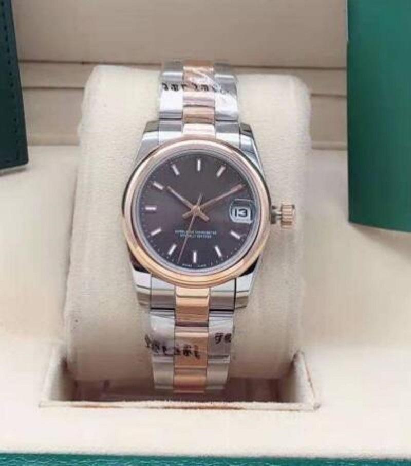 Женские автоматические часы, 31 мм Стильное классическое сапфировое зеркало, нержавеющая сталь водонепроницаемая неделя, складная пряжка