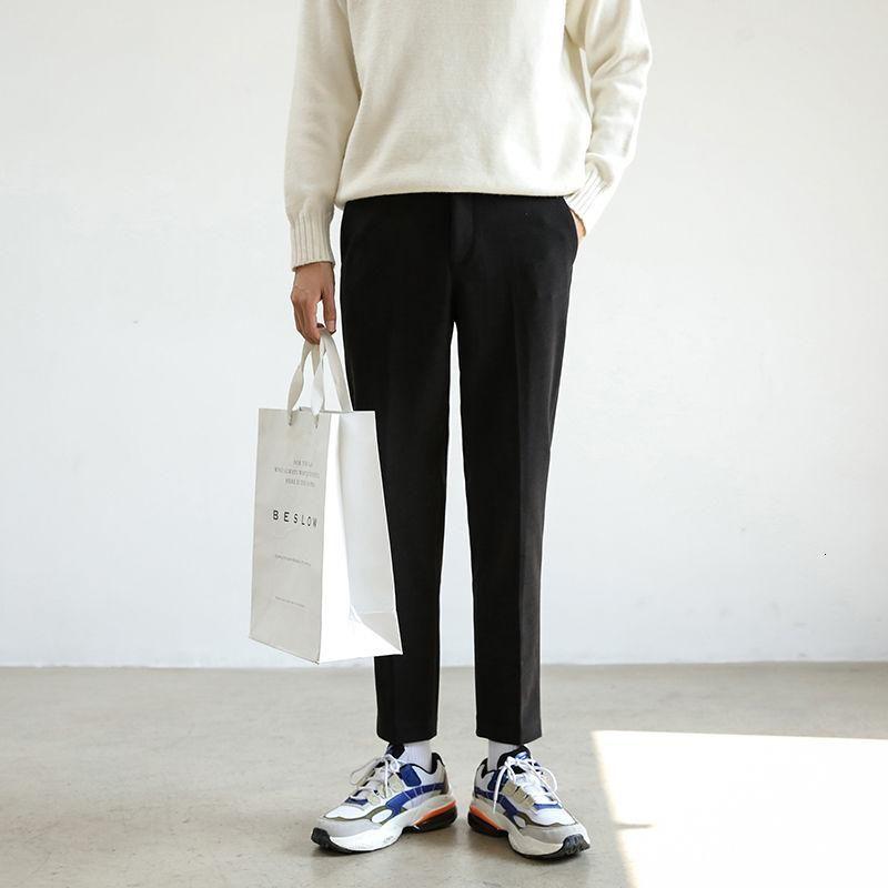 남성 바지 2021 가을 슬림 솔리드 컬러 두꺼운 모직 헝겊으로 바지 캐주얼 성격 청소년 착용