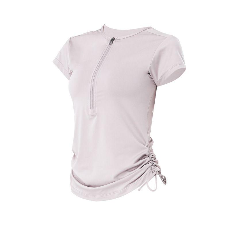 المرأة تي شيرت الملابس قمم المحملات الفتيات ركض الجري الصيف قصيرة الأكمام اللياقة البدنية ممارسة سريع الجافة بلون بلون حبل شبه البريدي اليوغا اللباس الأعلى