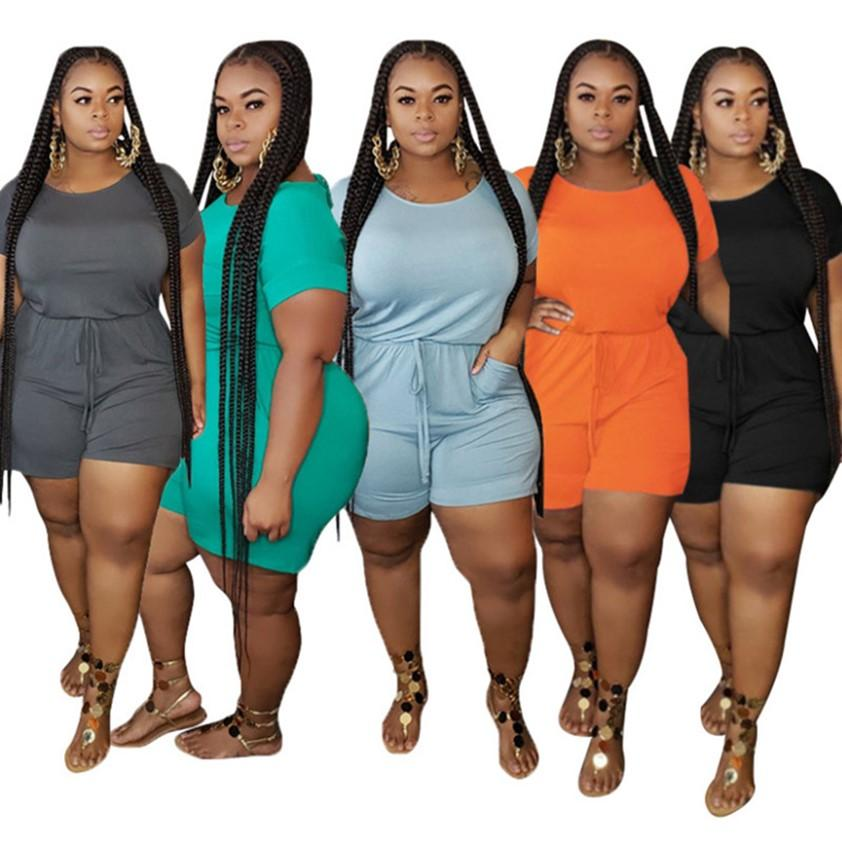 women Summer clothing plus size jumpsuits S-5XL bodysuits solid color rompers fashion overalls casual one piece pants plain sportswear Home wear 4827