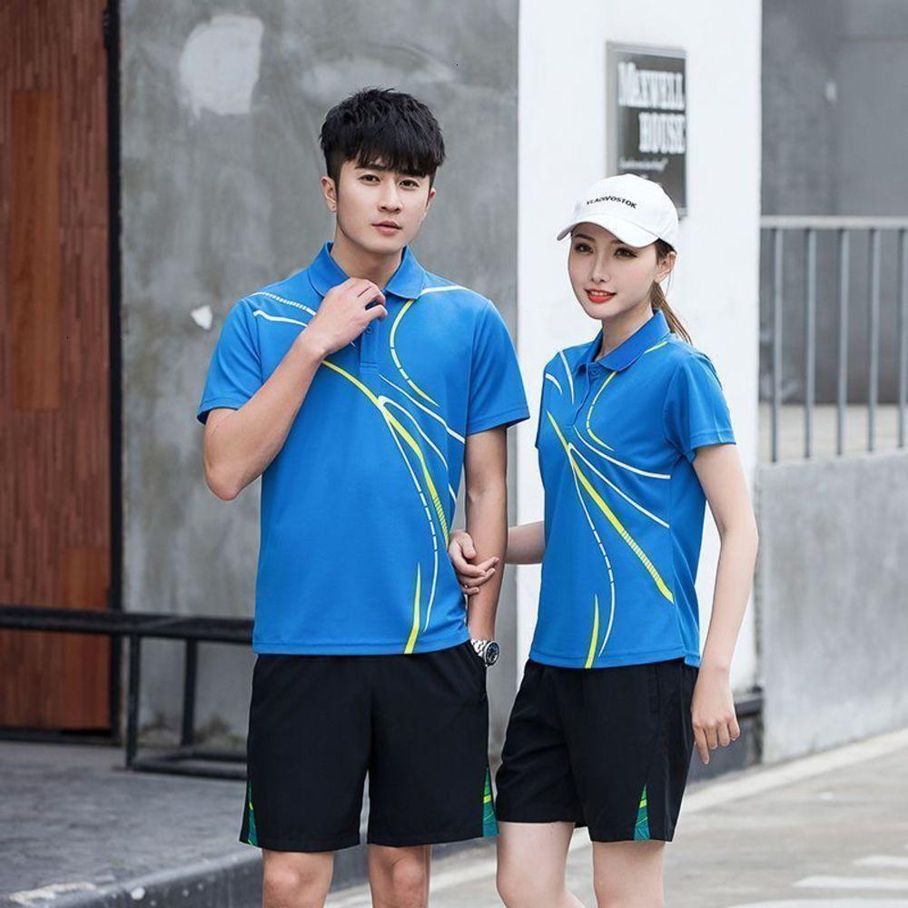 Eşofman erkek Yaz Çift Spor Koşu Fitness Suit Hızlı Kurutma Nefes Kısa Kollu Şort Badminton Sportswear