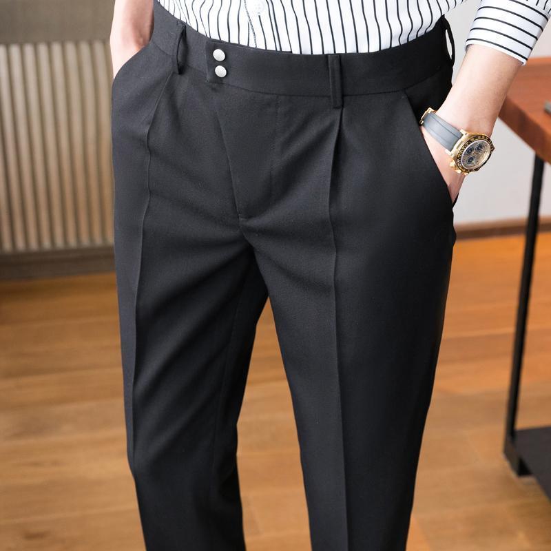 Hommes plissés costumes pantalons décontractés décontractés pantalons de mariage de mariage social vêtements masculins couleur Slim Fit Pantalon Homme classique