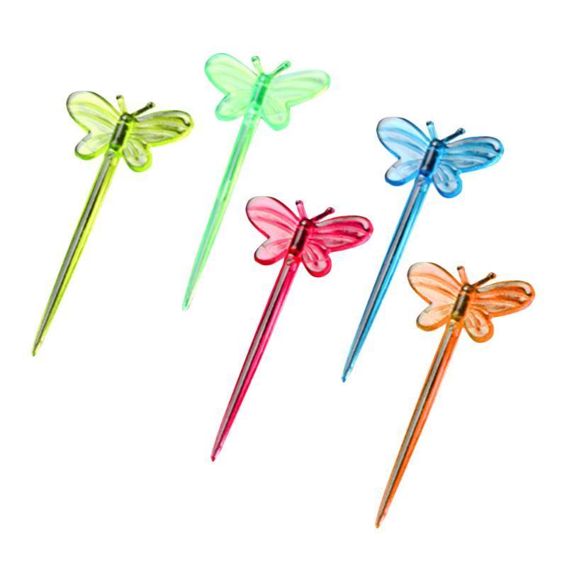 Forks 200pcs Picks Shape Fruit Toothpicks Disposable Sandwich Appetizer Cocktail Sticks Party Supplies (Mixed Color)