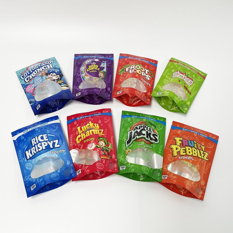 Borse da imballaggio a prova di imballaggio commestibili di cereali infati borse di pebble fruity fruity borse mylar