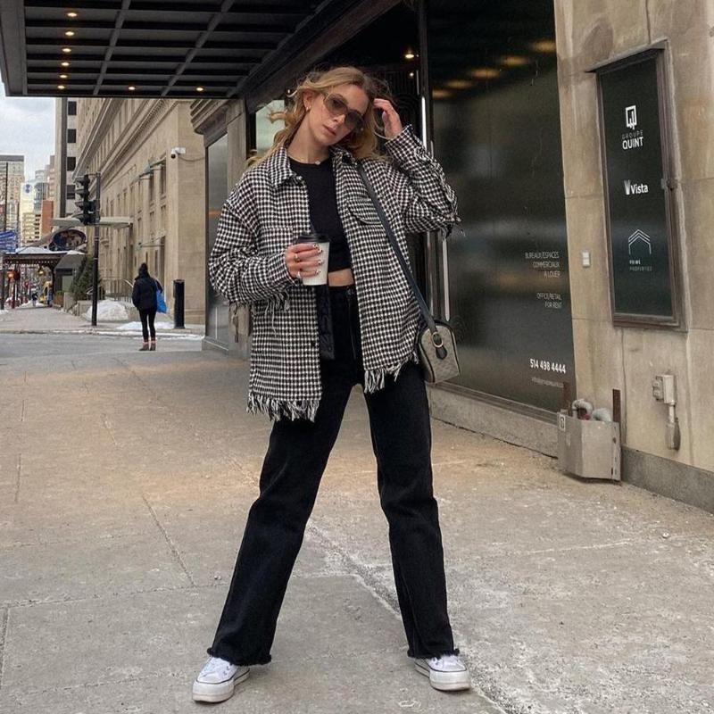Kadın Ceket Houndstooth Outshirt Saçak Detay Kaba Kenar Chic Lady Moda Casual Kadın Ceket Kıyafetler Kadın Ceketler Tops