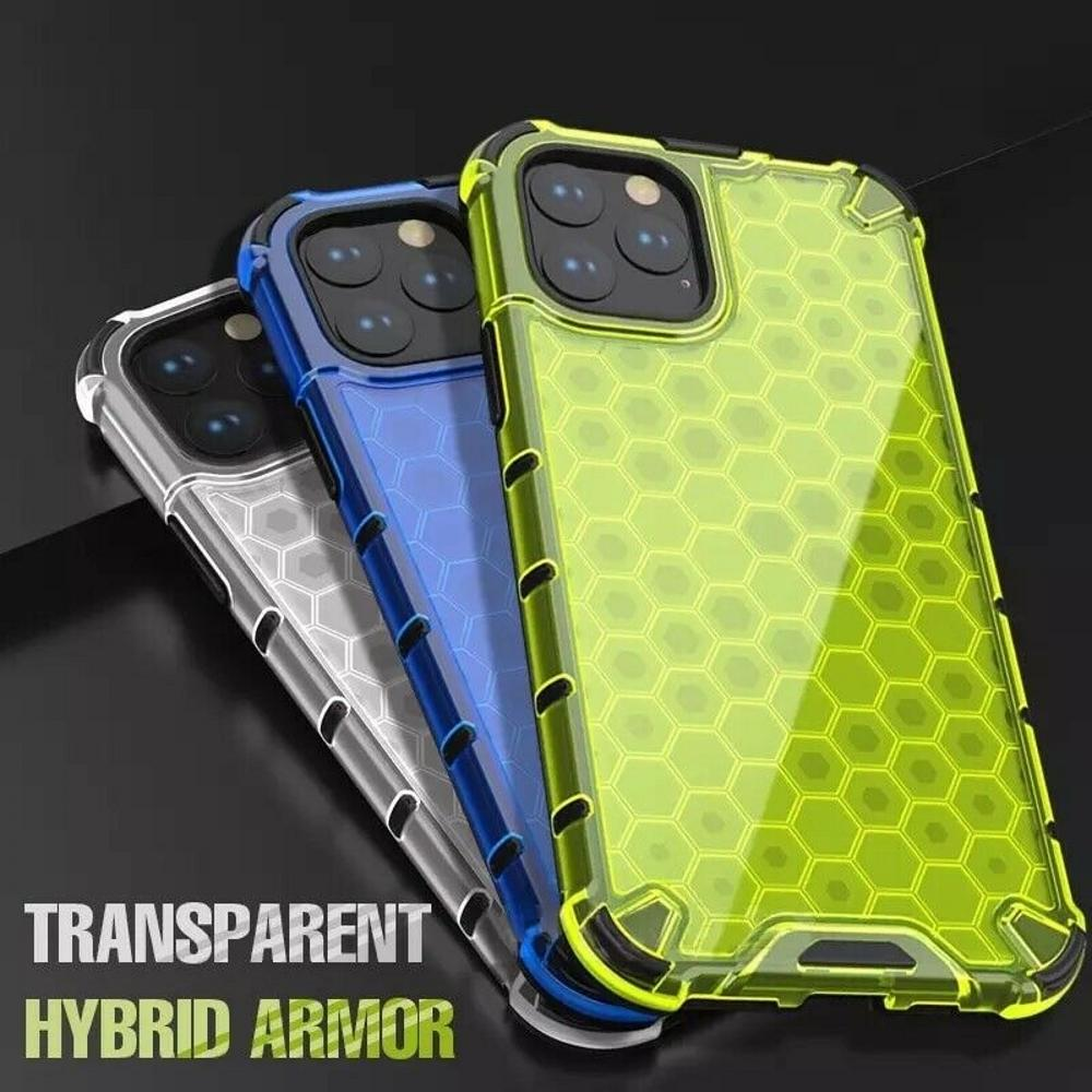 Honeycomb Hard Case on For iPhone 12 mini 11 Pro max Airbag Shockproof Armor Case to XR XS 7 8 plus Cover