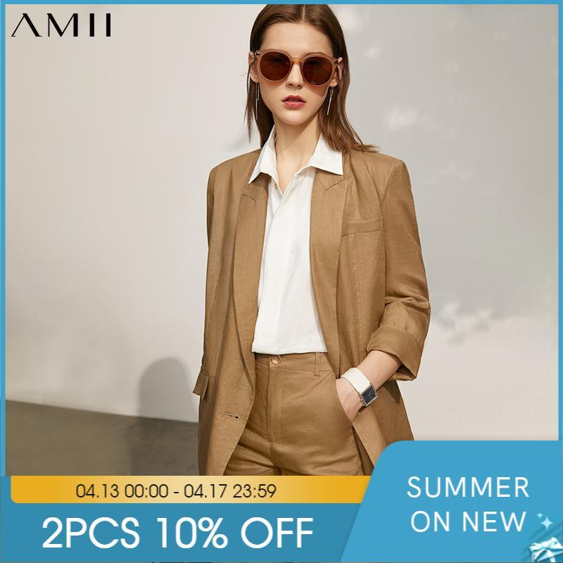 AMII Minimalismo Moda de verano Traje de mujer Abrigo Offical Lady 100% lino Sólido Blazer Mujeres Causal Pantalones sueltos 12140237 Dos piezas