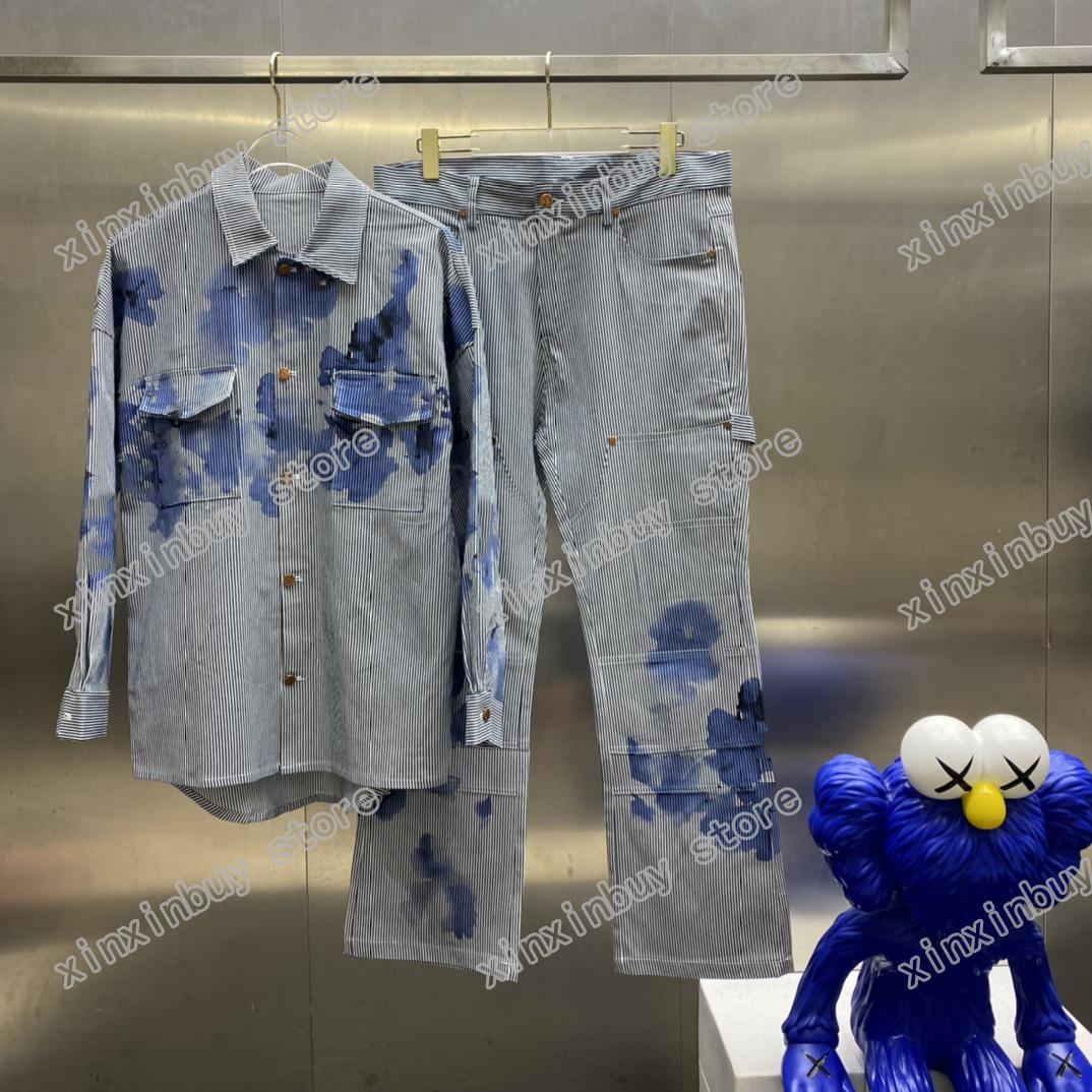 21SS Hommes imprimé designer denim veste paris aquarelle plangi vêtements manches courtes manches pour hommes Tag Blanc noir 06