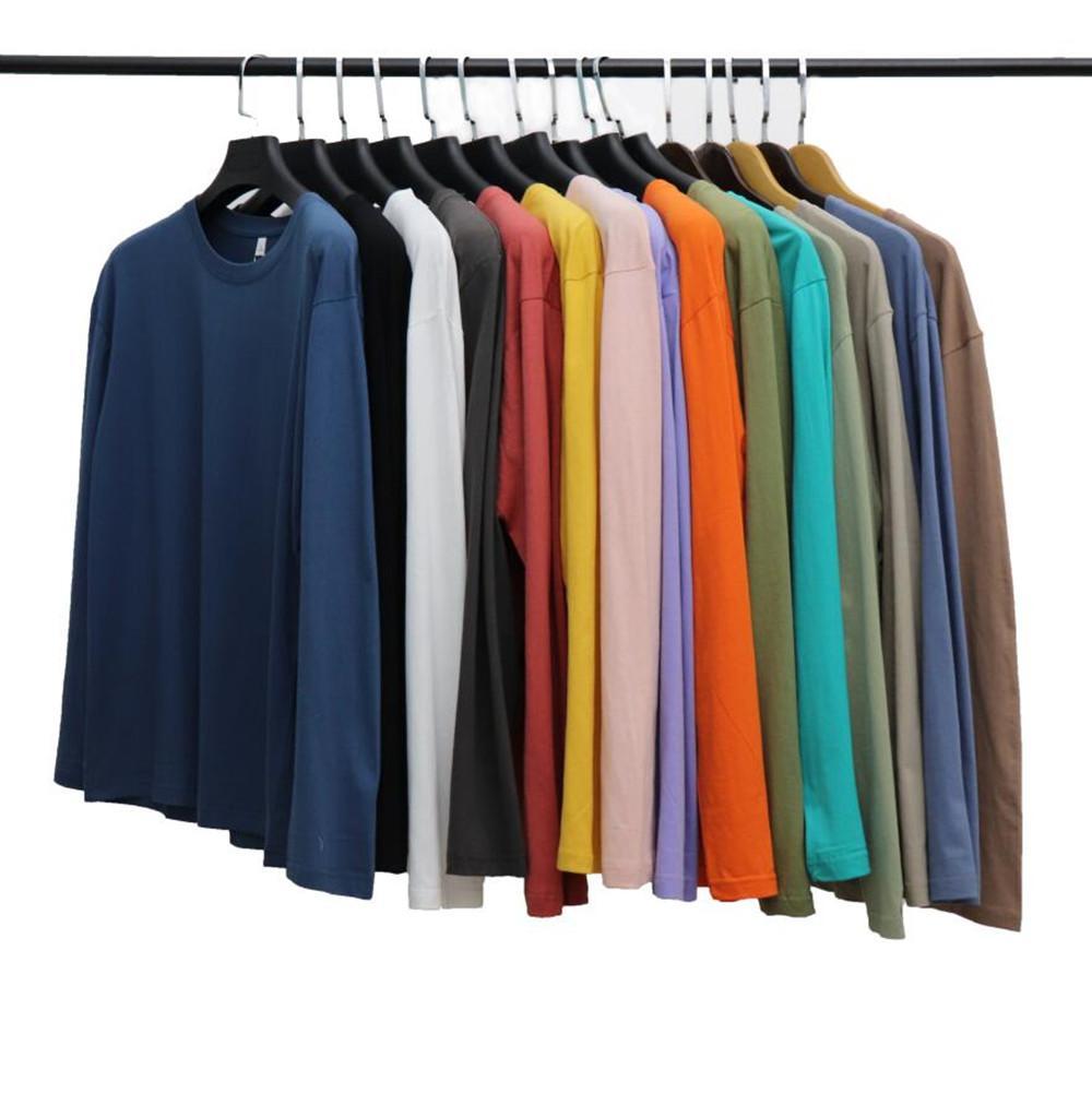 Hommes T-shirts à manches longues 100% coton T-shirts T-shirts De Bonne Qualité Spring Automne Ronde Col Sweatshirt à manches longues Streetwear Causal Hommes Vêtements