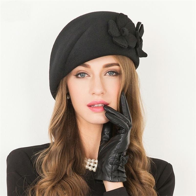 Kadın Üst Sınıf Fascinator Şapka Kokteyl Düğün Parti Fedora Moda Şapkalar Lady Pillbox Cap 100% Avustralya Yün Bereliler 210429