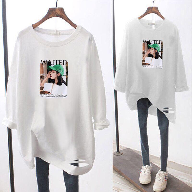 Camiseta de manga larga de mm de gran tamaño MM con agujeros femenina estudiante coreano suelto y versátil abrigo inferior de la parte superior de las mujeres