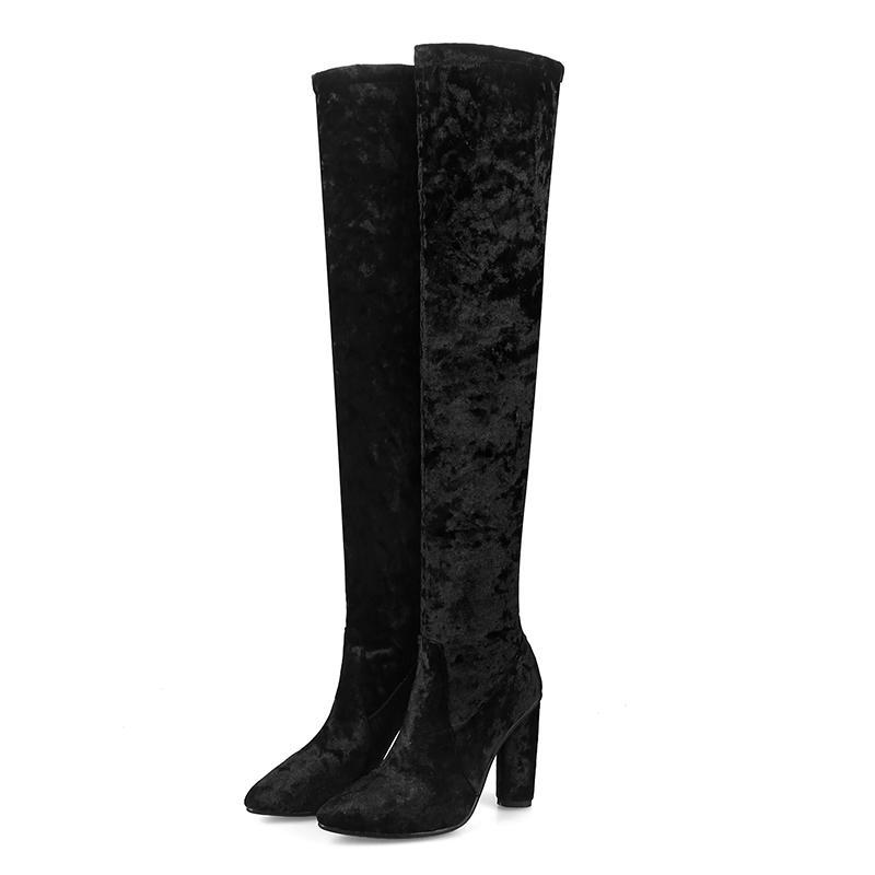 Bottes Lucyever 2021 Hiver sur les genoux Femmes Tissus Stretchs High Heel Slip sur Chaussures Toile Toile Taille longue 33-43