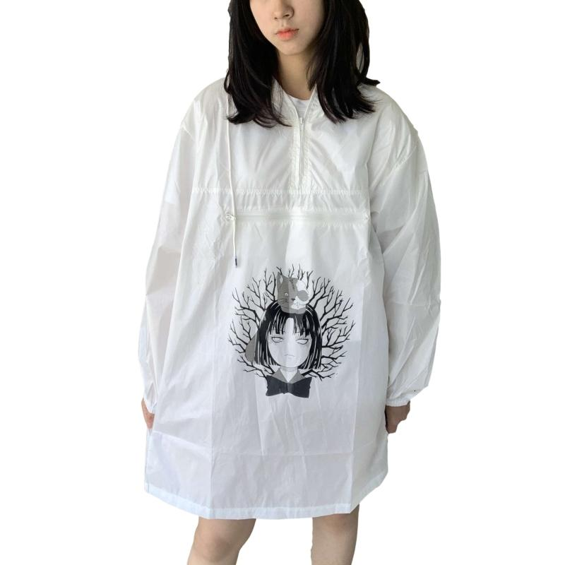 Harajuku Kawaii Anime Women's Trench Coat Spring Fashion Streetwear Punk Female Waterproof Oversized Long Windbreaker Raincoat