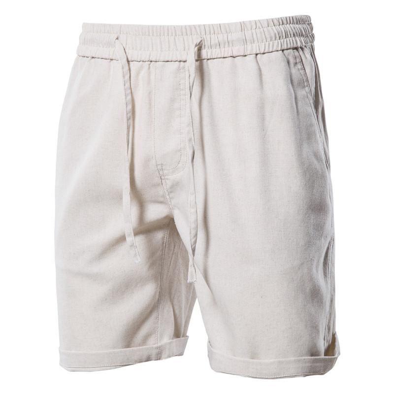 Erkek Şort Yaz Yüksek Kaliteli Ev Giymek 100% Pamuk Keten Katı Renk Plaj Kurulu Kısa Pantolon