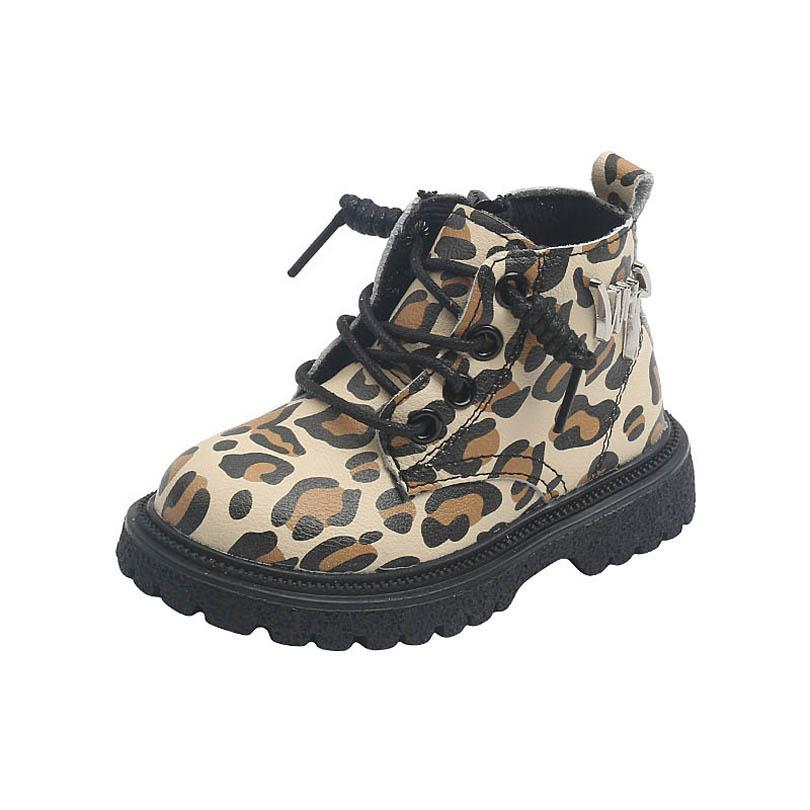 أحذية أطفال أحذية أطفال الأطفال بنين بنات الخريف الشتاء الأحذية عارضة ليوبارد طباعة قصيرة التمهيد B8175