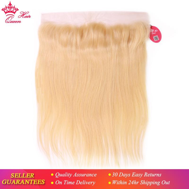 Productos para el cabello Queen 613 Color rubio Virgen Brasileño Virgen Humano 13x4 Encaje Cierre Frontal Extensiones de cabello recto